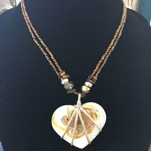 Glass Heart Necklace With Copper Seed Beads
